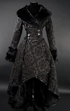 Two Layered Black Steampunk Coat Victorian Style by lainazboutique