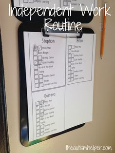Low Tech: Teach what to do when finished early & during indep. Independent Work Schedule for High Functioning Students - The Autism Helper Autism Teaching, Autism Activities, Autism Classroom, Special Education Classroom, Autism Resources, Kindergarten Learning, Education College, Teaching Resources, Preschool