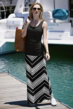Zig Zag Stripe Skirt-longtallsally.com