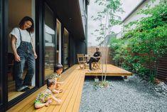 子どもが安心して過ごせるプライベートな庭 #ルポハウス #設計士とつくる家 #注文住宅 #デザインハウス #自由設計 #マイホーム #家づくり #施工事例 #滋賀 #おしゃれ #庭 #ウッドデッキ Landscape Architecture Design, House Landscape, Japan Modern House, Life Design, House Design, Tiny Little Houses, Japan Interior, Garden Room Extensions, Zen House