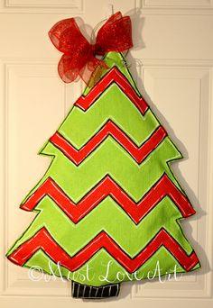 Chevron Christmas Tree Burlap Door Hanger Decoration HUGE. $35.00, via Etsy.