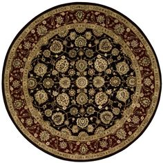 """Nourison Round Area Rug, """"Nourison 2000"""" 2017 Black 6' ($1,089) ❤ liked on Polyvore featuring home, rugs, no color, round black rug, circular rugs, circular area rugs, nourison area rugs and nourison"""