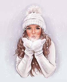 Beautiful Girl Drawing, Cute Girl Drawing, Cartoon Girl Drawing, Girl Cartoon, Cartoon Art, Winter Illustration, Woman Illustration, Image Girly, Best Friend Drawings