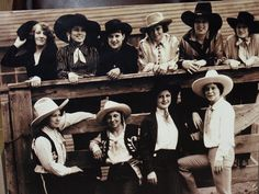 Cowgirls present at one of the Stock Show's from long ago!