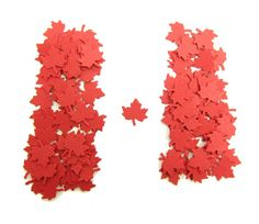 Red Maple Leaf Confetti Canada Day Party Red by BrownEyedRose