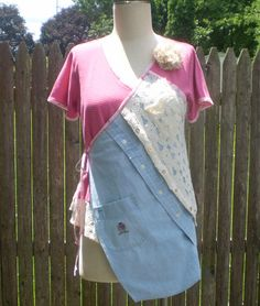 PlayCloz tunic- M-L ladies remade Boho Gypsy style tunic top- short sleeve knit and shirt tunic- side tie tunic- large hips- pink and blue