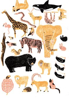 illustrations of animals Art And Illustration, Illustrations And Posters, Animal Illustrations, Giraffe Illustration, Kids Brand, Motifs Animal, Art Design, Illustrators, Cute Animals