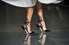 Details of shoes on a model walking the runway during the Ralph & Russo show as part of Paris Fashion Week - Haute Couture Fall/Winter 2014-2015 at Pavillon Cambon Capucines on July 10, 2014 in Paris, France.
