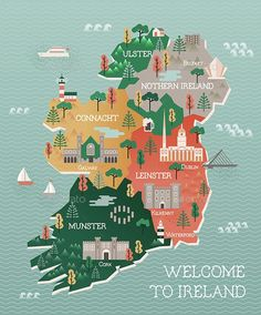 Illustration about Flat vector illustration with stylized travel map of Ireland. The landmarks and main cities like Dublin and Belfast. Text Welcome to Ireland. Illustration of culture, castle, capital - 64842626 Travel Maps, Africa Travel, Places To Travel, Travel Destinations, Paris Travel, Travel Usa, Travel Photos, Ireland Vacation, Ireland Travel