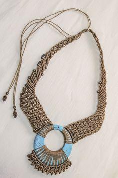 by Tribal Macrame https://www.etsy.com/es/listing/214162411/collar-de-macrame-con-piedra-magnesita?ref=shop_home_active_21