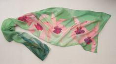 Silk Scarf Blossom Orchids Hand Painted silk scarf by klaradar