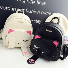 Preppy Cat Pu Leather Back Pack - Free Shipping