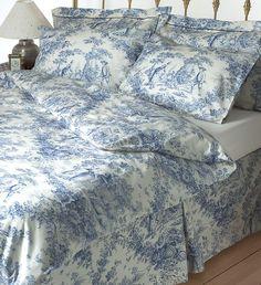 Toile de jouy blue bedding set 100% cotton