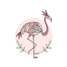 F is for Flamingo by ArtbyKateG on Etsy