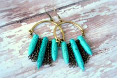 Brass Turquoise Primitive Spikes Dangles Chain by Cheshujewelry, $18.00