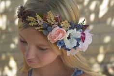 185zł Anemone and Blueberry Flower Crown - Pink & Navy with Rose Gold Flower Crown- Flower Girl Crown - Bridal Flower Crown - Rose Gold Wedding