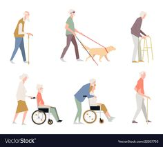 People are disabled on the street. Pensioners on a wheelchair. A person with limited abilities. Characters in a flat style standing. Collages, Render People, Hospital Design, Cartoon People, Bts Drawings, People Illustration, Architecture Drawings, Graphic Design Posters, Illustrations And Posters