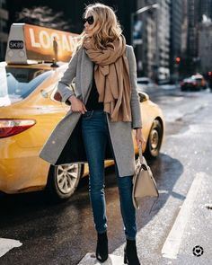 NYFW Fall/Winter 2017 Street Style Grey Coat Tan Blanket Scarf Denim Skinny Jeans Celine Tie Handbag Black Ankle Booties - April 13 2019 at Grey Coat Outfit, Gray Coat, Grey Fashion, Look Fashion, Fashion Women, Fashion 2016, Fashion Coat, Classy Fashion, Cheap Fashion