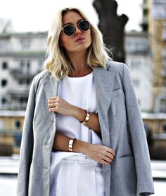 long bob, round sunglasses, grey jacket, white top & gold cuffs #style #fashion #hair