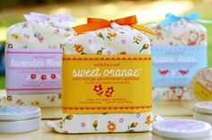 Nostalgia Organics has packaged some of their soaps in these ultra-cute cotton bags...and check this out...the labels contain a sewing pattern you can use to re-purpose the bags with.