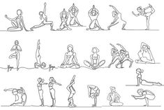 Yoga bundle (continuous line icon) by Valenty on Yoga Drawing, Drawing Exercises, Person Drawing, Drawing People, Yoga Meditation, Line Drawing Tattoos, Yoga Inspiration, Yoga Tattoos, Yoga Illustration