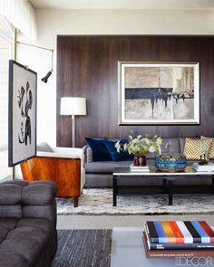 Interior Design Contemporary Living Room Elle Decor Jimmie Johnson (Nascar Champion) Manhattan Apartment - Shaun Henderson Designs