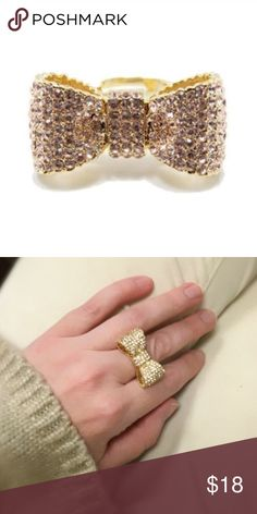 Breakfast at Tiffany's Bow Ring This is my favorite ring! Perfect to wear for your birthday, or to give a friend for theirs! 18 k gold plated, adjustable, beautiful quality! Lead and nickel free. T&J Designs Jewelry Rings