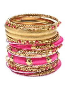 Richa Bangle Set by Amrita Singh.would only wear a couple at a time :) Bangle Set, Bangle Bracelets, Prom Accessories, Couleur Fuchsia, Thread Jewellery, Thread Bangles, Indian Jewelry, Indian Bangles, Fantasy Jewelry