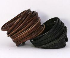 Multi strand wrap leather bracelet.