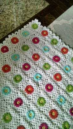 Crochet flower squares, lacy edge-done