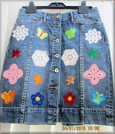 Upcycled Denim Embllished Ladies Short Skirt  by KraftytKiwiKorner