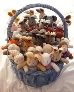 A basket of knitted buddies!