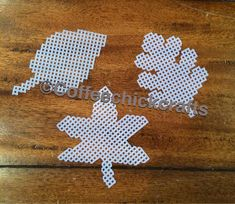 Set of 3 Fall Leaves Plastic Canvas Cut Outs by CoffeeChickCrafts