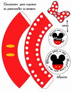Minnie y Mickey en Rojo: Lindos Toppers y Wrappers de Cupcakes para Imprimir Gratis.                                                                                                                                                                                 Más