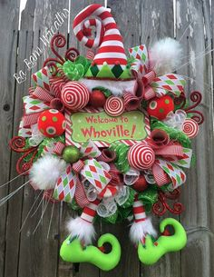 Christmas Mesh Wreath Christmas Wreath Holiday by BaBamWreaths Grinch Christmas Decorations, Christmas Wreaths To Make, Whimsical Christmas, Christmas Door, Holiday Wreaths, Holiday Crafts, Green Christmas, Handmade Christmas, Santa Decorations