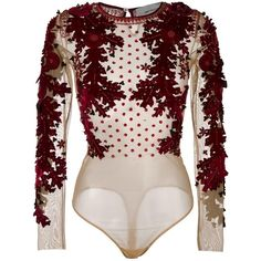See this and similar Amen clothing - Amen - floral applique blouse - women - Polyamide/Spandex/Elastane/PVC/glass - Women's, Nude/Neutrals, Polyamide/Spande. Bodysuit Blouse, Bodysuit Tops, Floral Bodysuit, Pink Bodysuit, Cl Fashion, Fashion Outfits, Floral Print Shirt, Floral Blouse, Floral Tops