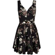 Mela Loves London Daisy Floral Print Belted Dress ($43) ❤ liked on Polyvore featuring dresses, black, women, sweetheart skater dress, daisy print dress, floral print dress, sleeveless dress and black sleeveless dress