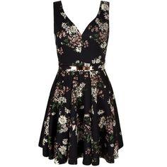Mela Loves London Daisy Floral Print Belted Dress (715 MXN) ❤ liked on Polyvore featuring dresses, black, women, black sleeveless dress, sleeveless dress, floral summer dresses, sleeveless summer dresses and black summer dresses