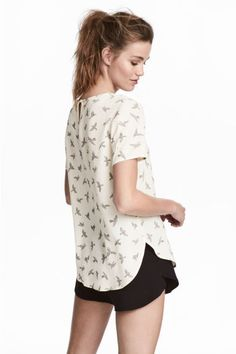 Short-sleeved blouse - Natural white/Birds - Ladies | H&M