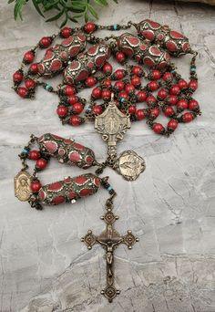 Catholic Religion, Rosary Catholic, Assumption Of Mary, Catholic Store, Coral Walls, Praying The Rosary, Blessed Mother Mary, Heart Of Jesus, Coral Stone