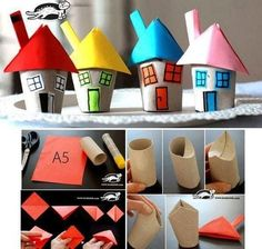 plenty of toilet paper roll crafts for kids Kids Crafts, Projects For Kids, Diy For Kids, Craft Projects, Craft Ideas, Rolled Paper Art, Toilet Paper Roll Crafts, Recycled Art, Elementary Art