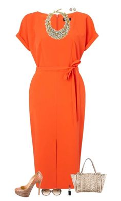 A fashion look from June 2017 featuring tie dress, animal print pumps and lock tote. Browse and shop related looks. Orange Dress Outfits, Dressy Outfits, Royal Clothing, Classic Outfits, Work Attire, Dress To Impress, Polyvore Fashion, Fashion Looks, Short Sleeve Dresses
