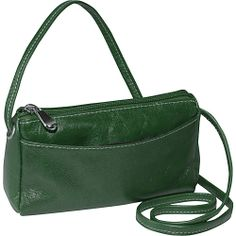 #Handbags, #LeatherHandbags - David King & Co. Florentine Top Zip Mini Bag Green - David King & Co. Leather Handbags