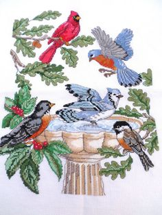 Counted Cross Stitch Finished Piece Birds Cardinal Blue Jay Robin Birdbath