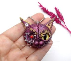Steampunk Art Cat Lovers gift Polymer Clay Cat Steampunk