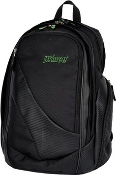 """Prince Carbon Tennis Backpack by Prince. $49.00. The Carbon Collection is designed with the serious club player in mind. This backpack can hold one to two racquets depending on how much other items you would like to carry. These stylish bags also feature water and dirt repellent PVC and nylon surfaces. Features: - Dimensions: 13\"""" L x 18\"""" H x 7\""""W - Woven carbon fiber look - Accessory pocket - Footwear pocket - Internal velcro divider to seperate items - Insulated wa..."""