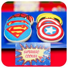 Cool cookies at a superhero birthday party! See more party ideas at CatchMyParty.com!