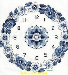 all blue 1 Counted Cross Stitch Patterns, Cross Stitch Charts, Cross Stitch Embroidery, Hand Embroidery Designs, Ribbon Embroidery, Hobbies And Crafts, Diy And Crafts, Clock Flower, Cross Stitch Flowers