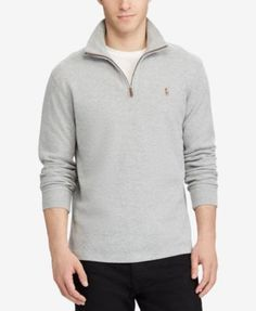 Polo Ralph Lauren Men's Estate-Rib Mock-Neck Pullover, Created for Macy's - Berkley Taupe Heather XXL