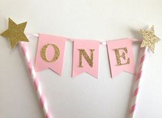 1st Birthday Cake Bunting Topper Pink and by SweetEscapesbyDebbie
